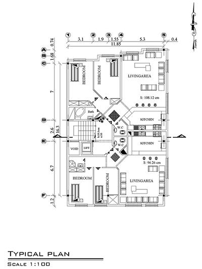 نقشه معماری  زمین 11 در 16-دو واحدی -300متر زمین،210 متر بنا-یک واحد شمالی و یک واحد جنوبی-دو و سه خوابه-پیلوت پارکینگ،-اول ،تیپ طبقات ،نما 2 عدد، برش