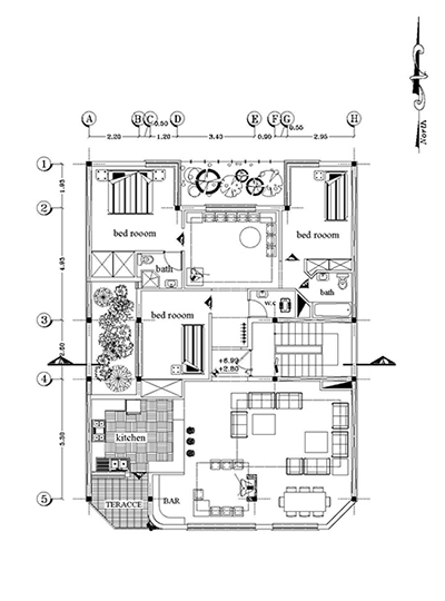 آپارتمان-ابعاد بنا 12 در 15- 180 متر بنا -280 متر زمین ابعاد 12 در 23- 3خوابه- تک واحدی-3 نما با معرفی مصالح و طراحی شده 1 برش-سایت پلا