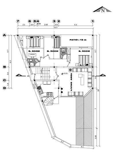 زمین13در 9-200متر زمین،110متر بنا-تک واحدی -سه خوابه-2طبقه-زیر زمین پارکینگ-همکف ،اول و دوم مسکونی -نما 2 عدد، برش یک عدد (1)