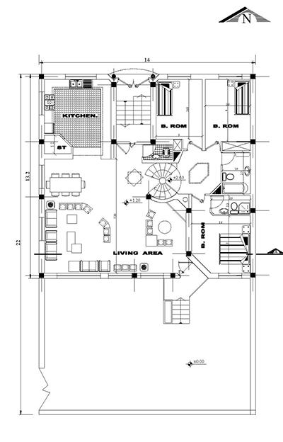 ویلایی 2طبقه -ابعاد زمین 14 در 22  -180 متر بنا به ابعاد 14 در 13-2نما و  1برش