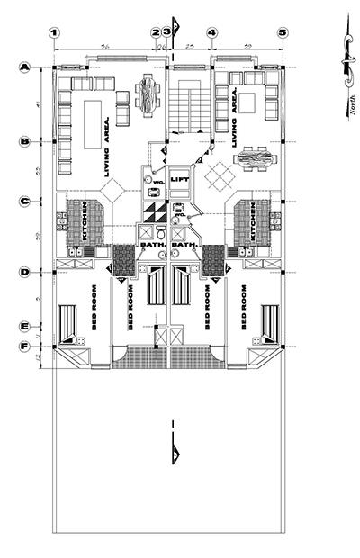 اپارتمان زمین 12 در25-بنا12در17- 210متر-دو واحدی