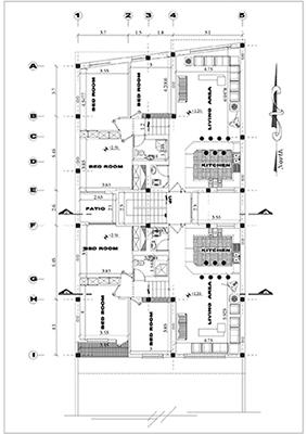 آپارتمان دو طبقه مسکونی-بنا 12 در 23-دو واحدی دو و سه خوابه-پلان زیر زمین چارکینگ-همکف و اول مسکونی -2 نما و 2 برش به علاوه پلان تیر ریزی همه طبقات