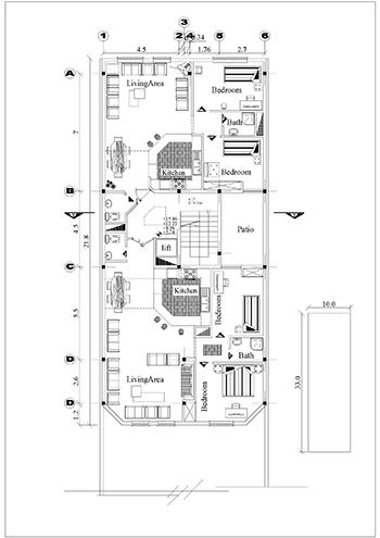 آپارتمان زمین 10 در 31-بنا 10 در21-210 متر بنا-2 واحدی 2 خوابه-4طبقه روی همکف-پلان همکف پارکینگ و اول و تیپ طبقات و 2 نما و یک برش و پلان تیر ریزی (1)