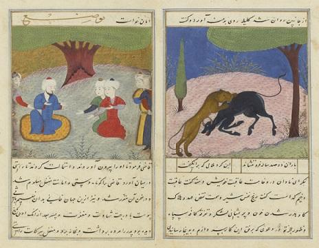 کلیله و دمنه نصرالله منشی - خطی نفیس مصور