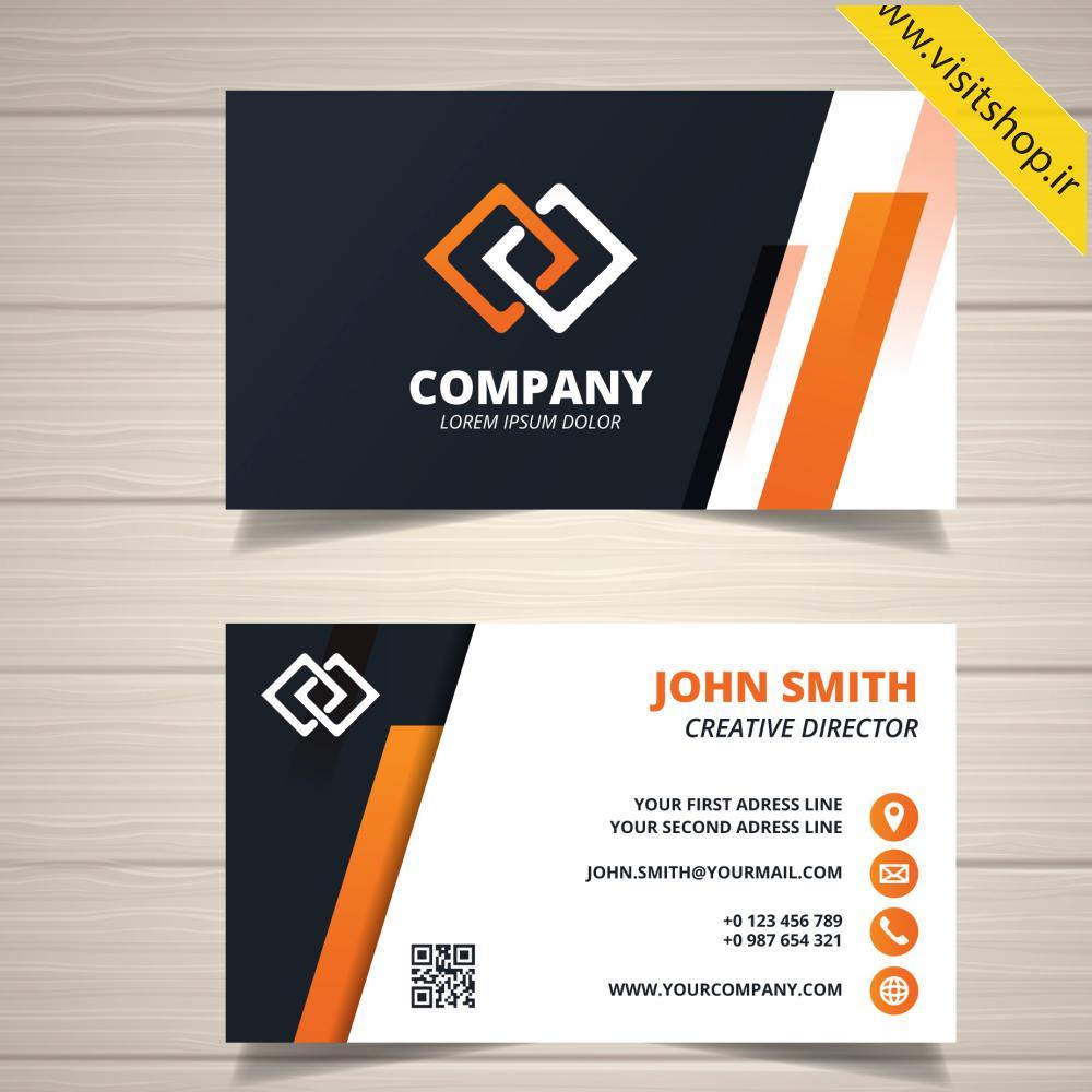 دانلود کارت ویزیت ساده شرکتی سفید نارنجی