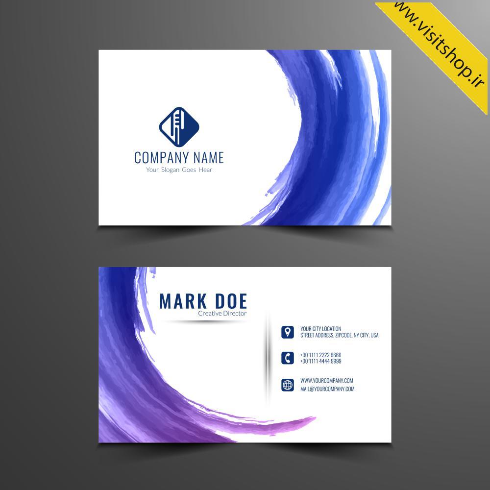 دانلود کارت ویزیت آبی سفید آبرنگ نقاشی