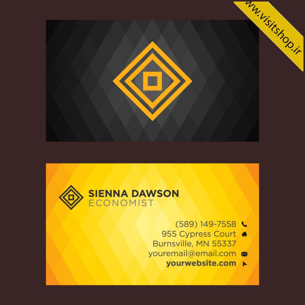 دانلود کارت ویزیت دو رو زرد برجسته و مشکی زیبا
