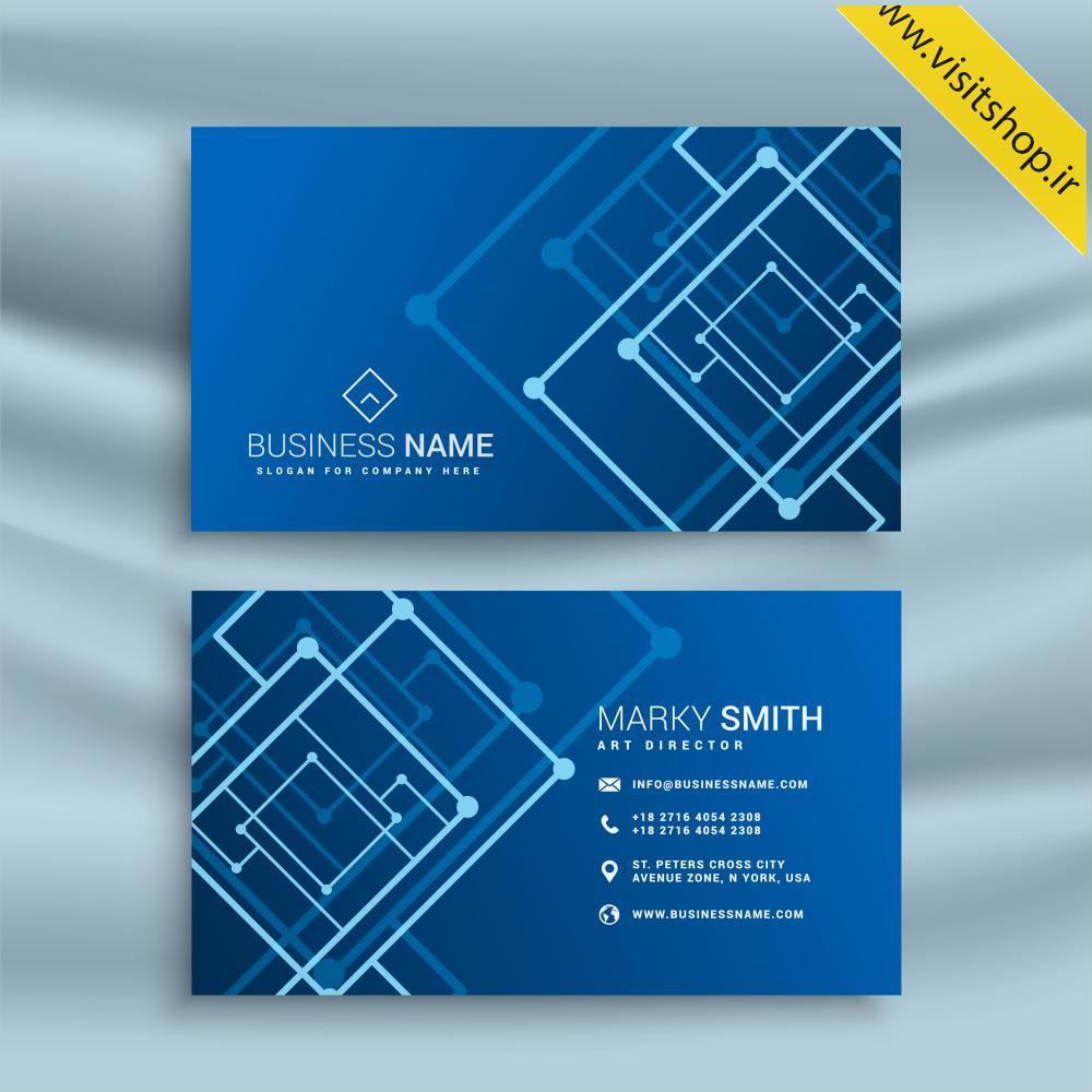 دانلود کارت ویزیت طیف آبی خط و نقطه و متن سفید