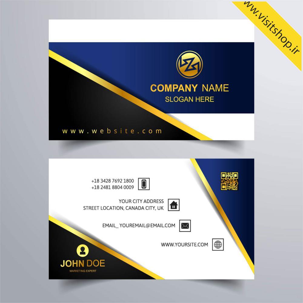 دانلود کارت ویزیت مشکی سورمه ای سفید طلایی