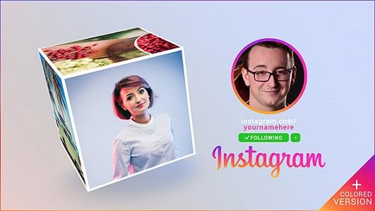 پروژه آماده افترافکت معرفی پیج اینستاگرام با آلبوم عکس مکعبی (فوق العاده جذاب)