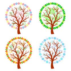 وکتور لایه باز درخت در چهار فصل 1