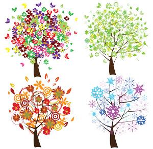 وکتور لایه باز درخت در چهار فصل 4