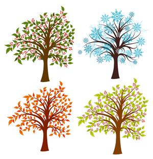 وکتور لایه باز درخت در چهار فصل 5