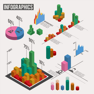 لایه باز انواع نمودارهای 3 بعدی اینفوگرافی