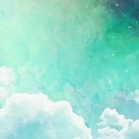تم بک گراند ابرهای رویایی با تم  سبز رنگ
