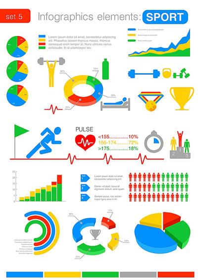 لایه باز انواع نمودارهای آماری ورزشی جهت اینفوگرافی