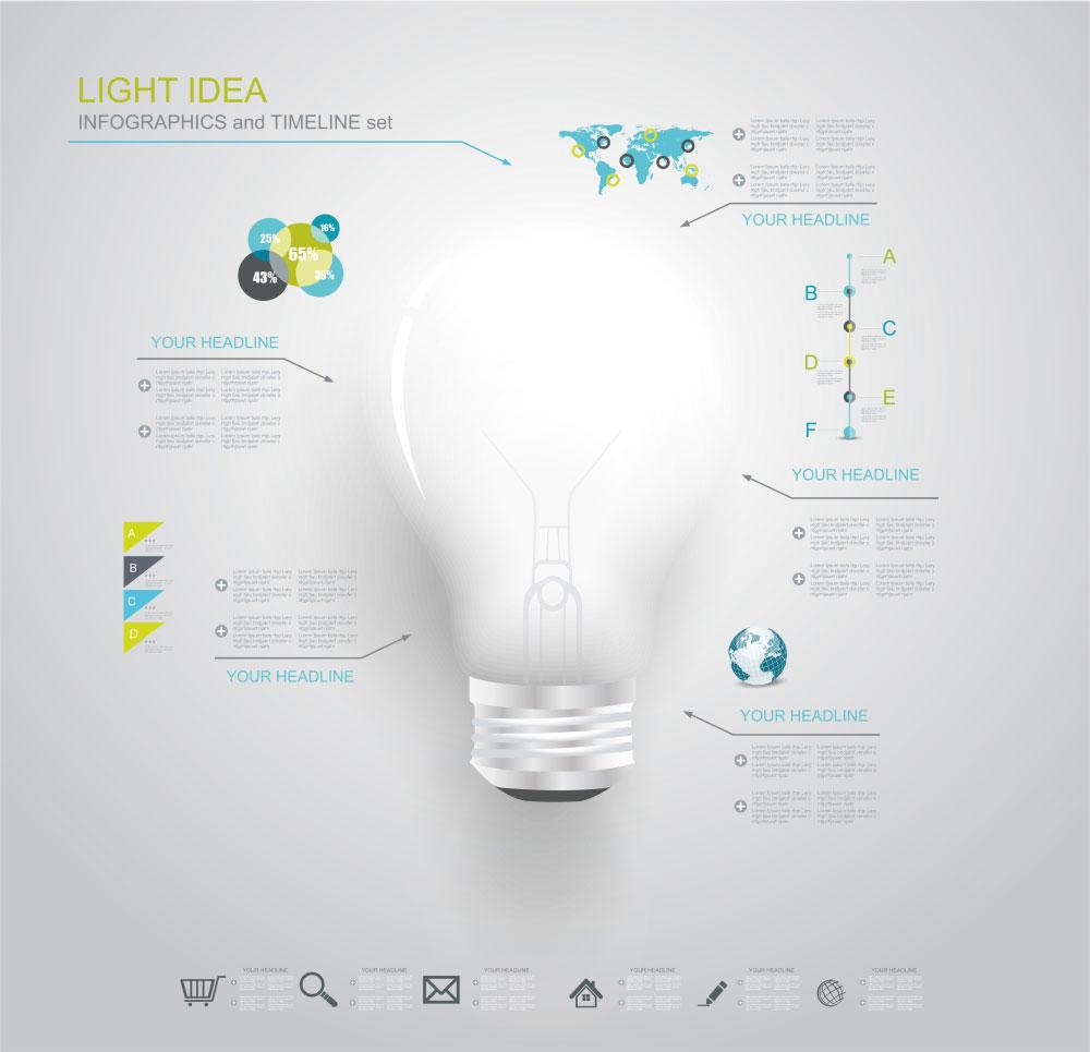 لایه باز چراغ ایده برای اینفوگرافی