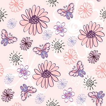 لایه باز پس زمینه کودک گل و پروانه
