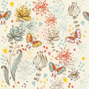 لایه باز پس زمینه کودک گل و پروانه سری دوم