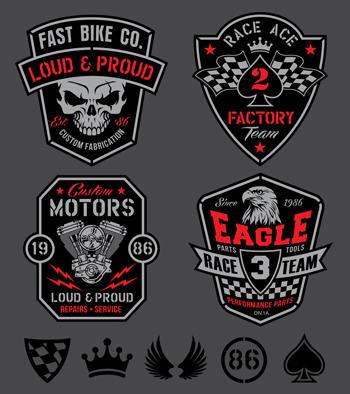 لوگو لایه باز پیستون موتور عقاب پرچم خط پایان