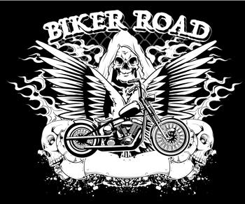لوگو لایه باز موتورسیکلت بال دار و اسکلت