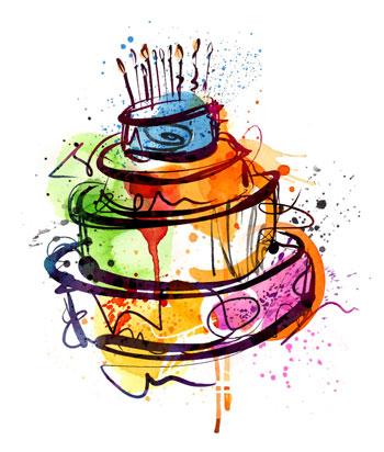 لایه باز وکتور کیک تولد