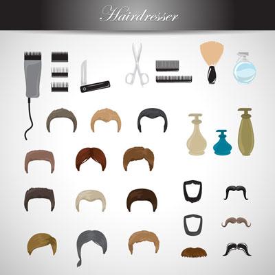 لایه باز وکتور لوازم آرایشگاه مردانه