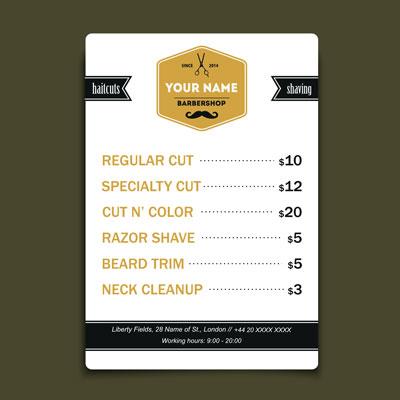 لایه باز وکتور لیست قیمت آرایشگاه