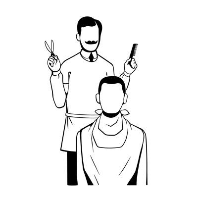 لایه باز وکتور آرایشگر مرد