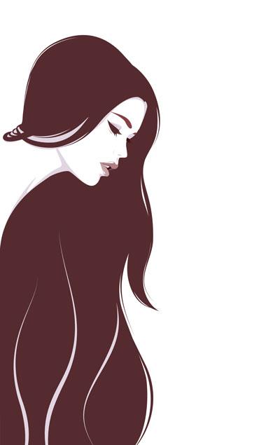 لایه باز وکتور دختر با موهای بلند (6)