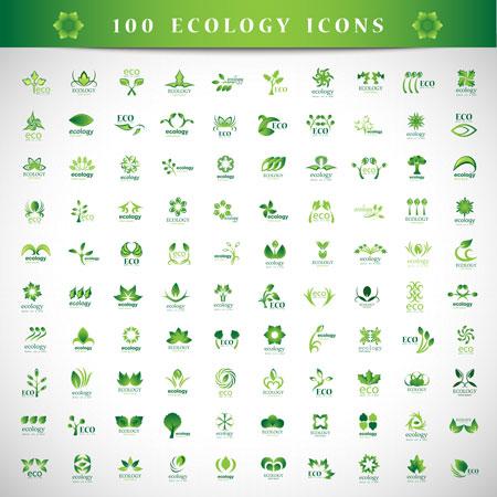 مجموعه لوگو های لایه باز طرح عناصر طبیعت و محیط زیست