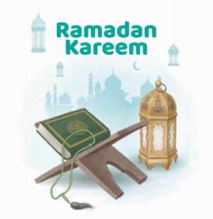 وکتور لایه باز رحل قرآن و فانوس ویژه ماه رمضان