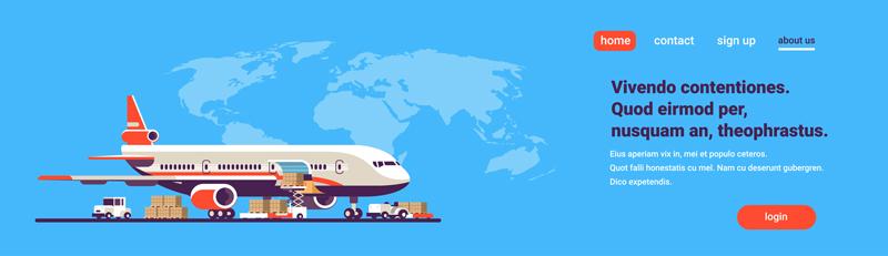وکتور لایه باز هدر سایت با موضوع تراول و جابجایی بار هوایی و تجارت