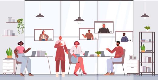وکتور لایه باز دفتر کار و جلسه ارتباط تصویری