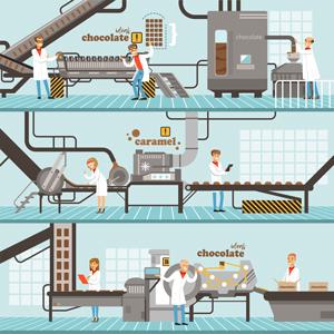 وکتور لایه باز کارخانه شکلات سازی