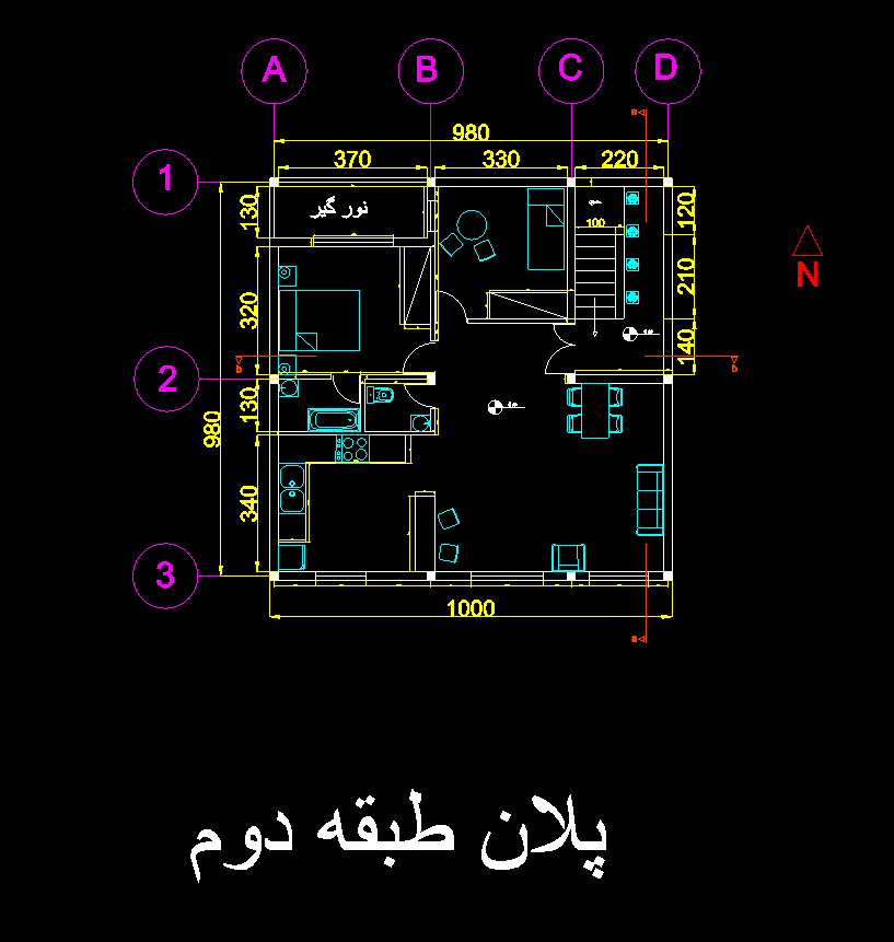 پروژه ی آخر ترمِ نقشه کشی ساختمان (اتوکد)