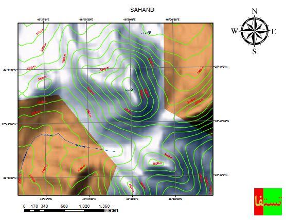 دانلود نقشه توپوگرافی کوه سهند