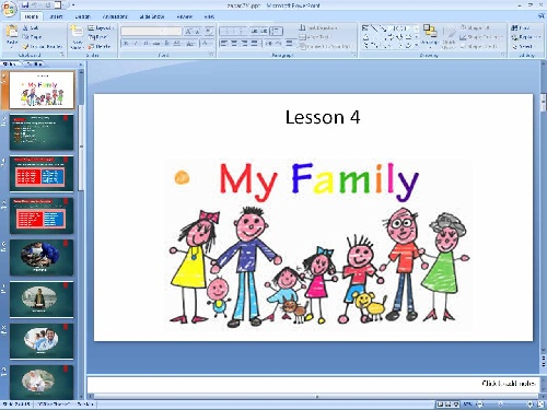 پاورپوینت درس چهارم زبان انگلیسی پایه هفتم(My Family)