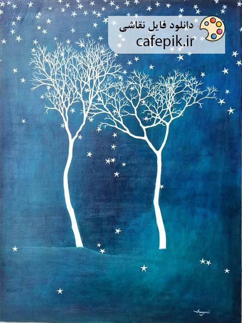 دانلود نقاشی مدرن شماره 569 درخت آبی گل