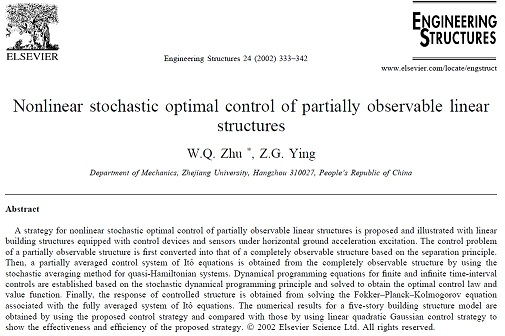 Nonlinear stochastic optimal control of partially observable linear structures