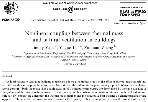 Nonlinear coupling between thermal mass and natural ventilation in buildings