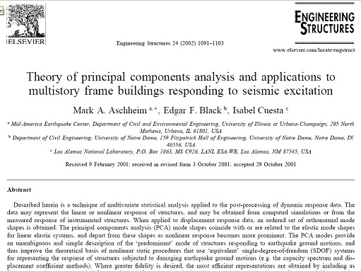 Theory of principal components analysis and applications to multistory frame buildings responding to seismic excitation