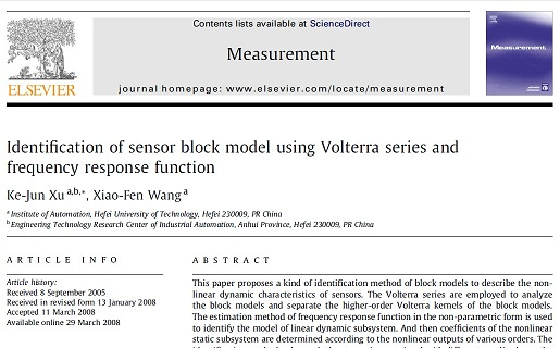 Identification of sensor block model using Volterra series and frequency response function