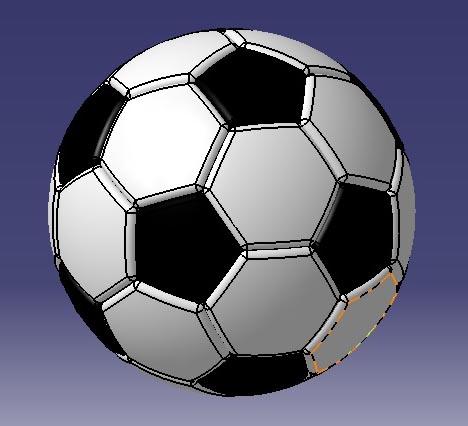 مدل طراحی شده توپ فوتبال در کتیا