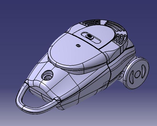 مدل جارو برقی طراحی شده در کتیا