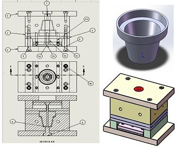 طراحی قالب تزریق گلدان