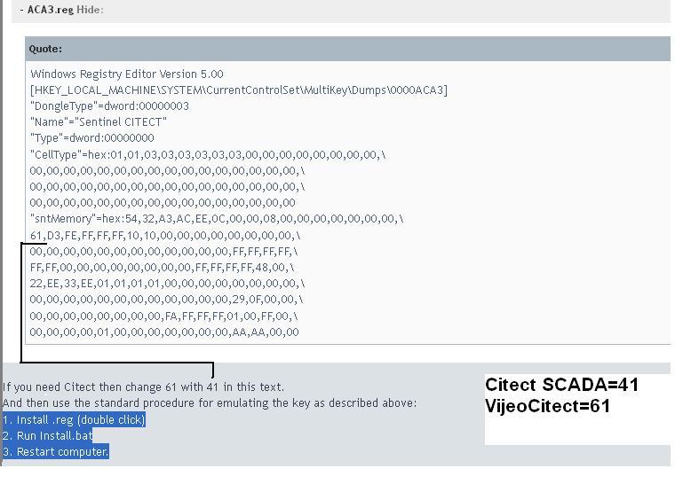 کد فعال سازی نرم افزار Citect