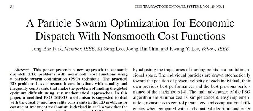 دانلود مقاله به همراه ترجمه-بهینه سازی ازدحام ذرات برای توزیع اقتصادی با توابع هزینه ای ناصاف