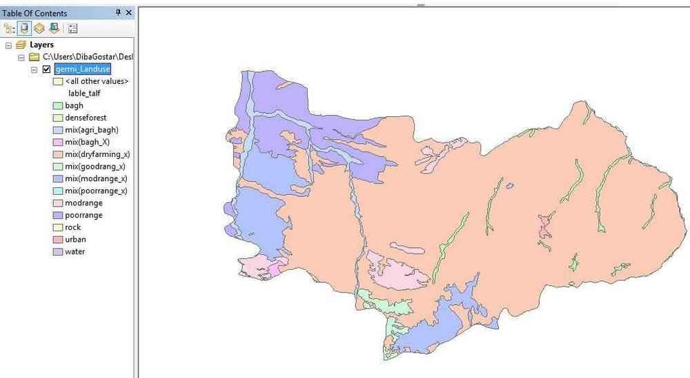 نقشه کاربری اراضی شهرستان گرمی