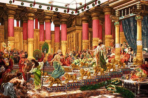 دانلود فایل نقشه ی تابلو فرش دستباف طرح دیدار ملکه ی سبا با حضرت سلیمان (گران قیمت و پر فروش )